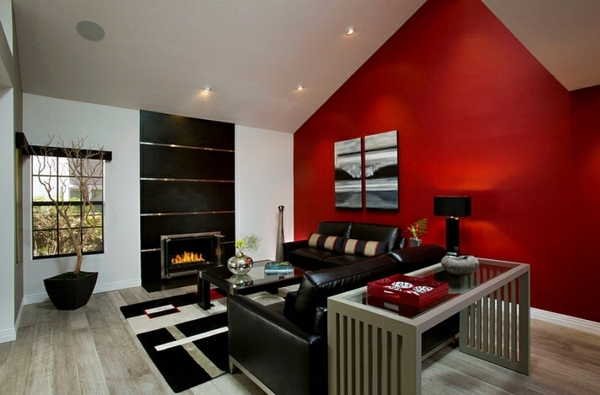 einrichtungsideen gorgeous interior design ideas in red black white - Interior Design Idea