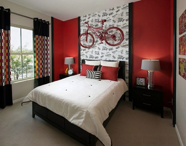 Red Accent Wall Farben   Gorgeous Interior Design Ideas In Red Black White
