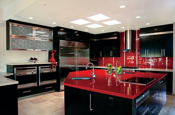 Kitchen Design With Bright Furniture Gorgeous Interior Design Ideas In Red  Black White