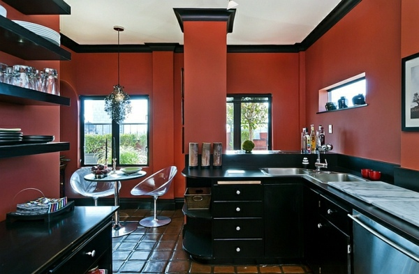 Gorgeous Interior Design Ideas In Red Black White