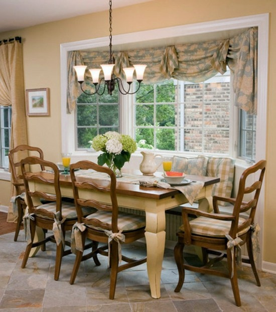 bench and dining table with chairs dining room wooden window