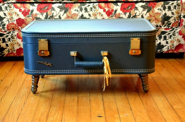 Build A Coffee Table Itself   Vintage Suitcase On Legs