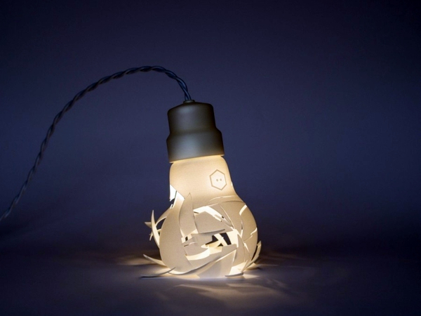 Broken Designer Lamps In The Form Of Oversized Light Bulbs