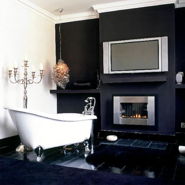 Bathroom designs with built in fireplaces interior for Bathroom with fireplace and tv