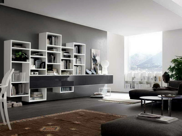 Interior design ideas for wall paint in shades of gray for Salotto design moderno