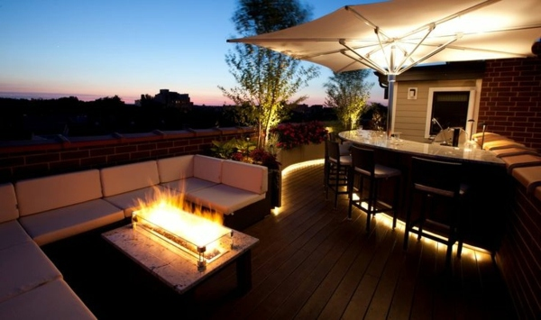 Illuminated Bar On The Roof Terrace 103 Examples Of Modern Garden Design