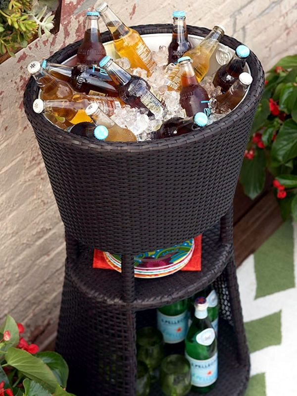 Rattan Ice Bucket Equipped With Shelves Rattanmöbel   Make Small Roof  Terrace   Cozy Sitting Area And Healthy Herbs
