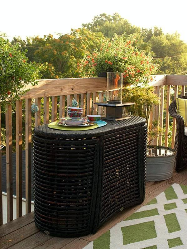 Rattan Folding Table Make Small Roof Terrace   Cozy Sitting Area And  Healthy Herbs