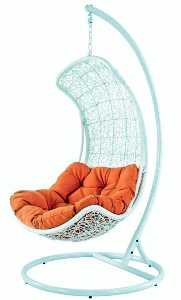 White Hanging Chair With Orange Edition 45 Outdoor Rattan Furniture   Modern  Garden Furniture Set And Lounge Chair