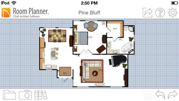 furnished room with a room planner open living room light