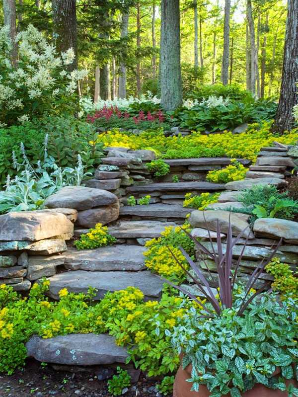 Landscaping on a slope how to make a beautiful hillside for Hillside rock garden designs