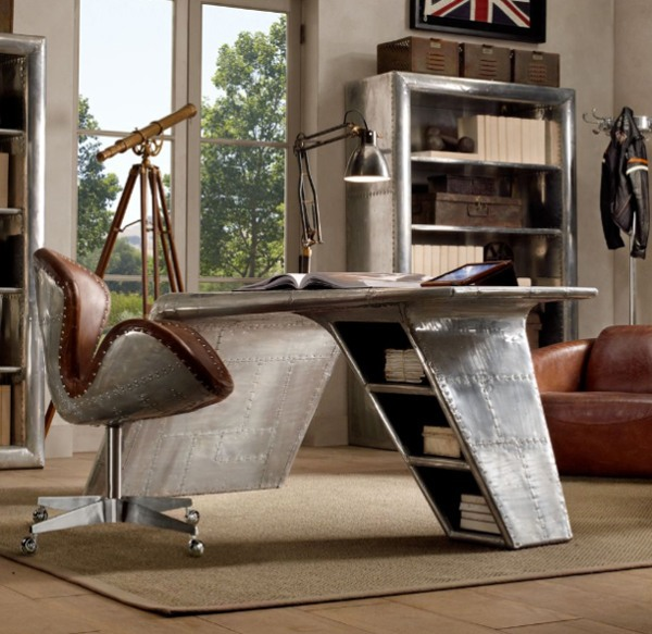 Modern airplane wing desk from restoration hardware for Cool home office chairs