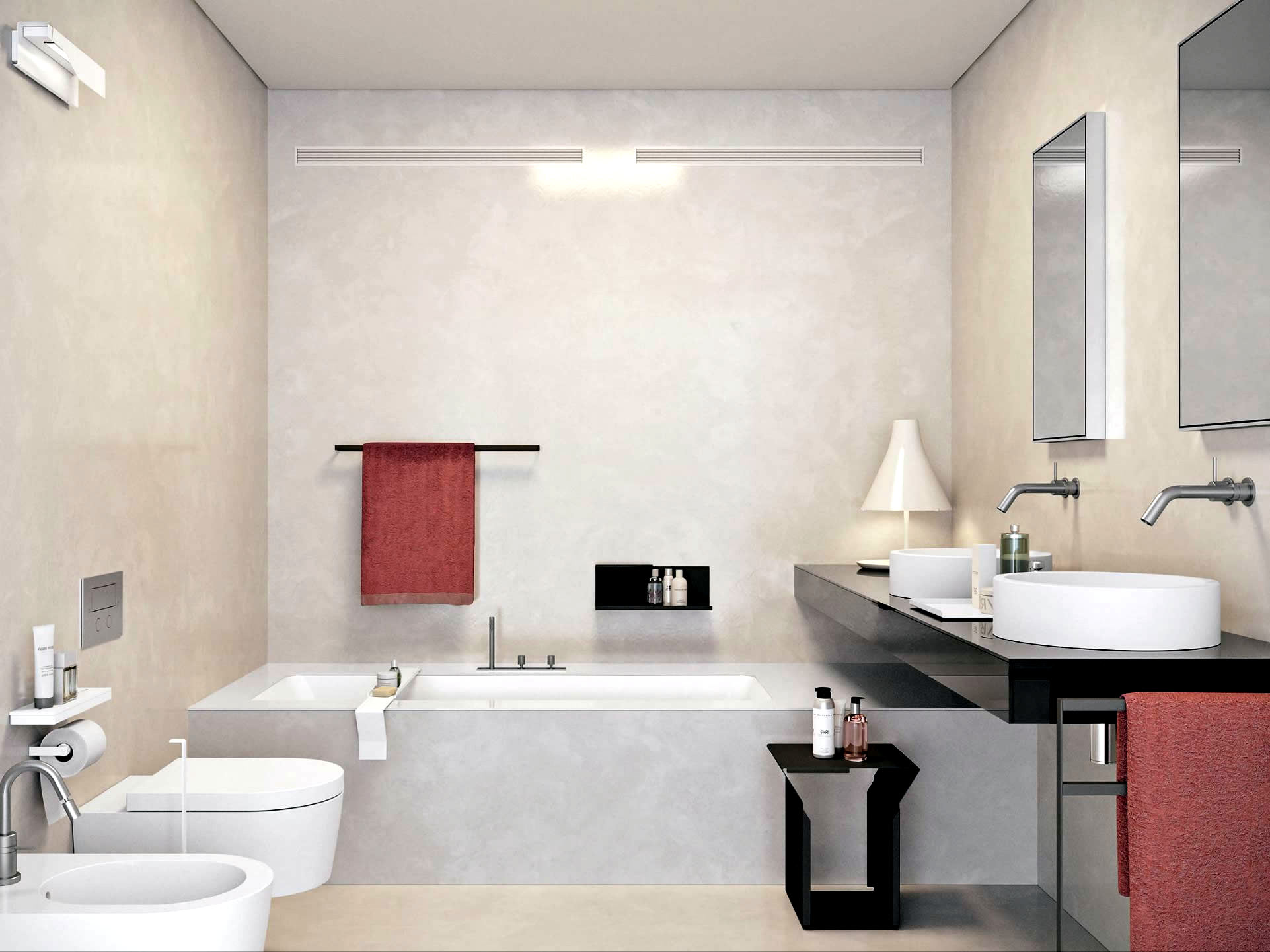 Modern built in bath tub with space saving design for Bathroom ideas without bathtub