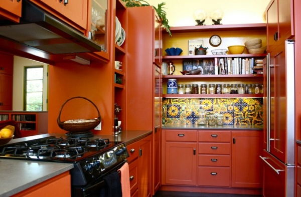 Modern interior design ideas in the mexican style for Burnt orange kitchen cabinets