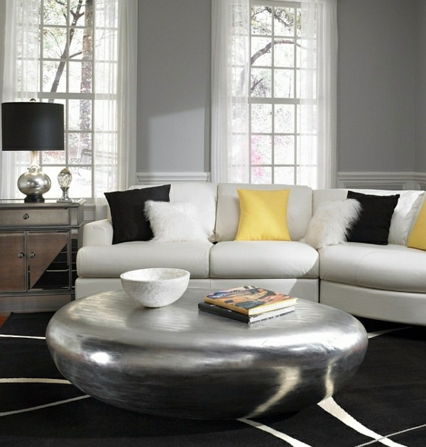 Living room color scheme – gray and yellow | Interior Design Ideas ...