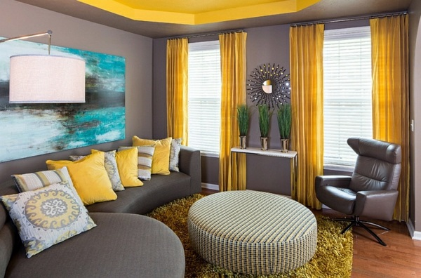 Living room color scheme gray and yellow interior - Grey yellow and green living room ...