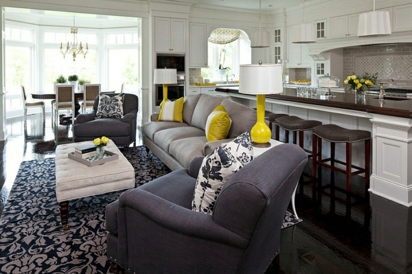 Living room color scheme – gray and yellow