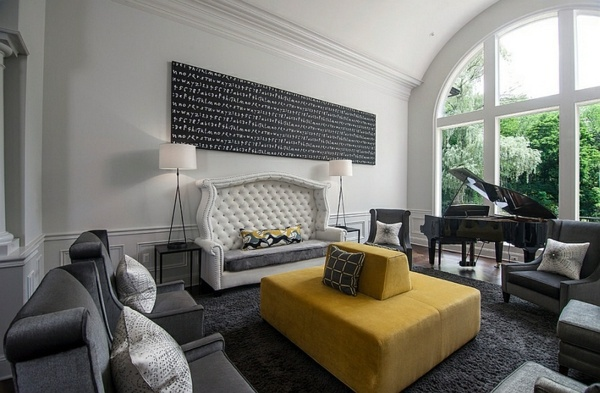 Yellow Velvet Sofa Living Room Color Scheme   Gray And Yellow
