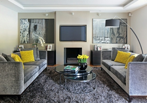 Cool, Interchangeable Accents Living Room Color Scheme   Gray And Yellow