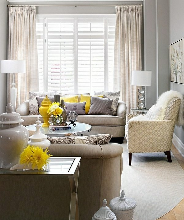 Yellow Spring Flowers Refresh The Atmosphere Living Room Color Scheme    Gray And Yellow