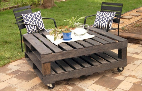 Garden table with casters Europaletten - DIY Furniture from Euro pallets -  101 craft ideas for wood pallets