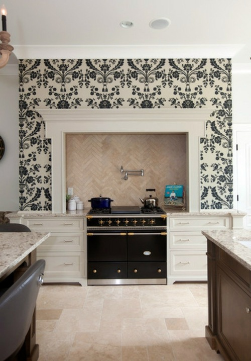 french country style kitchen. Many floral wallpaper black and white Furnished French country style  kitchens design Interior Design