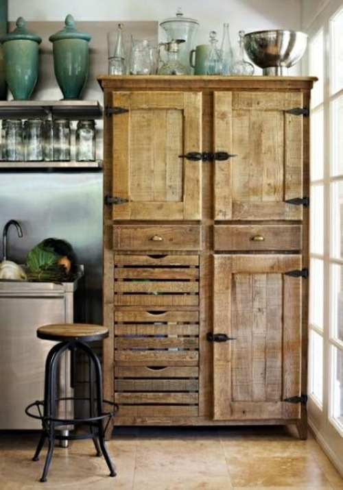 Cool furniture from euro pallets 55 craft ideas for for Kitchen cabinets made from recycled materials