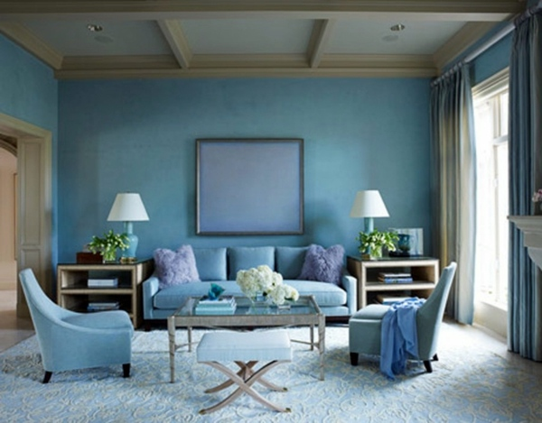 slate blue wall wall design ideas with blue hues - Slate Blue Living Room Ideas