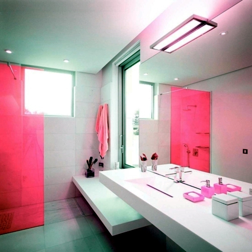 In color bathed elegant ideas for pink bathroom designs Pink bathroom ideas pictures