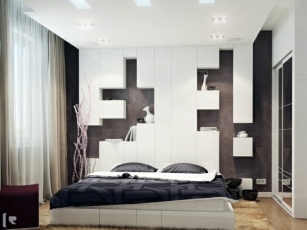Bedroom wall design wall decoration behind the bed for Bed room interior wall design