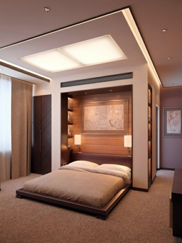 Ordinaire Integrated Ceiling Lighting Bedroom Wall Design   Wall Decoration Behind  The Bed
