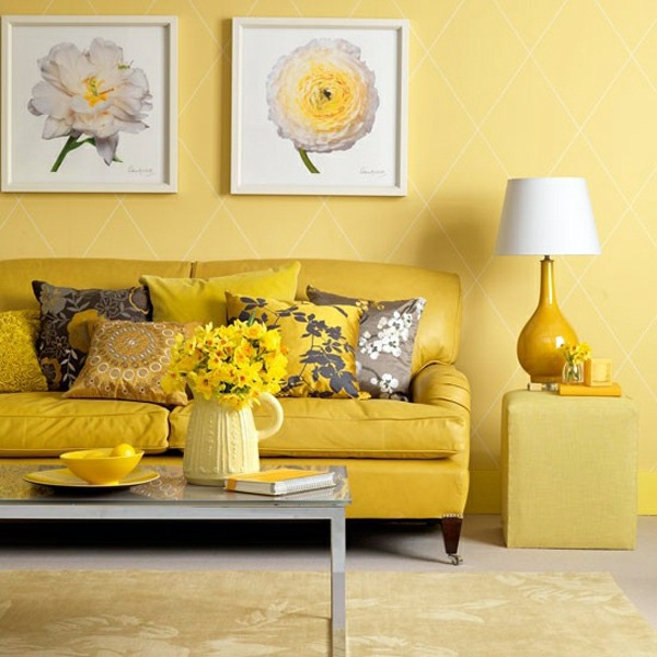 Color Ideas For Walls   Yellow, Sunny Wall Decoration In The Living Room