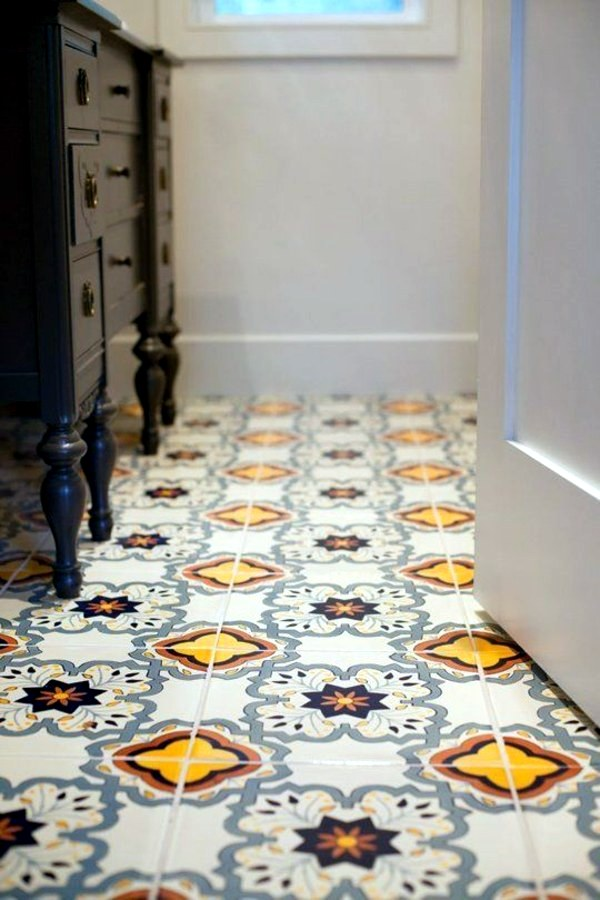 Floor Tiles In Retro Style Small Bathroom Tile   Bright Tiles Make Your  Bathroom Appear Larger