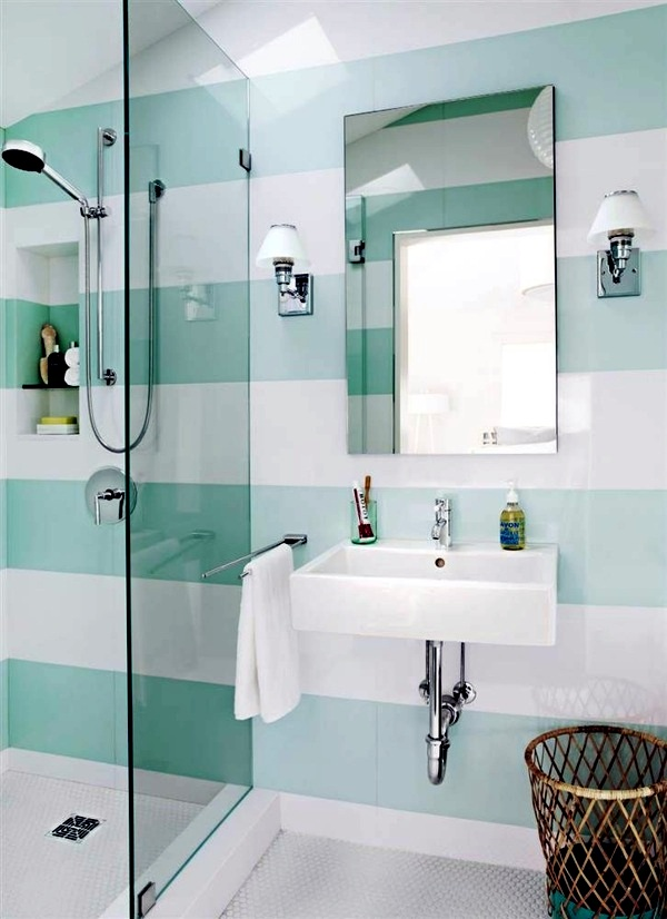 Create A Striped Pattern Small Bathroom Tile   Bright Tiles Make Your  Bathroom Appear Larger Part 37