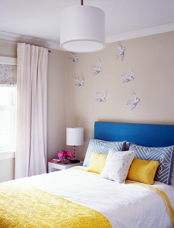 Paper Bird On The Wall Bedroom Wall Design   Thematic Bedroom Design And Wall  Decoration