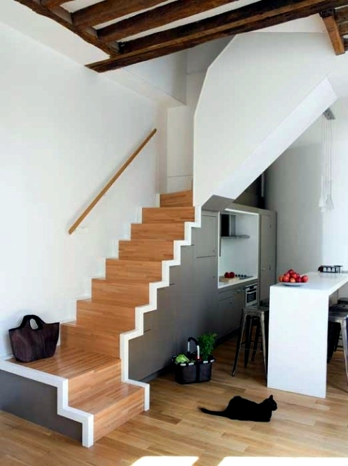 Cool space saving storage ideas in the stairwell for Space saving interior design ideas