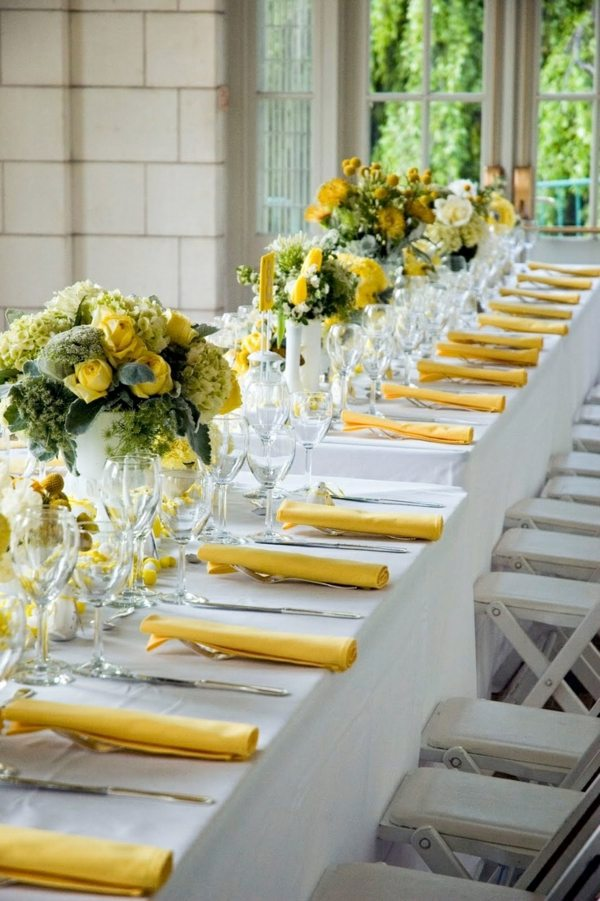 Table Decoration In Green And Yellow Colors For A Festive