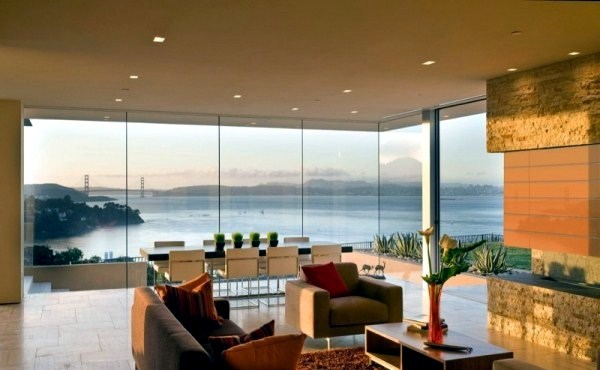 A modern house with views of san francisco interior for San francisco modern homes