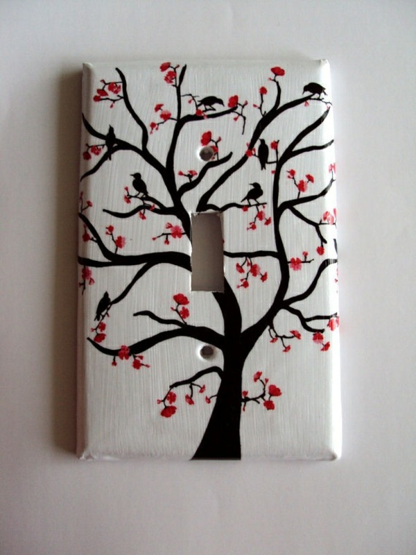 Spring Tree Painting With Red Flowers Beautify 30 Retro Light Switch  Designs Themselves Nice Design
