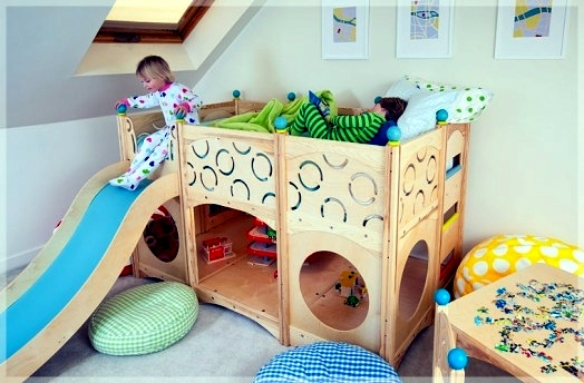 Beautiful ... Childrenu0027s Room Design   Cool Play Beds For Toddlers Made Of Natural  Wood