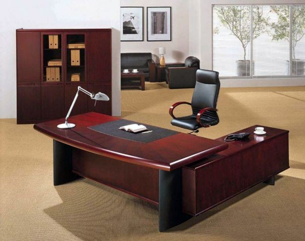 Mahogany And Black Leather The Right Desk Design For Your Modern Office