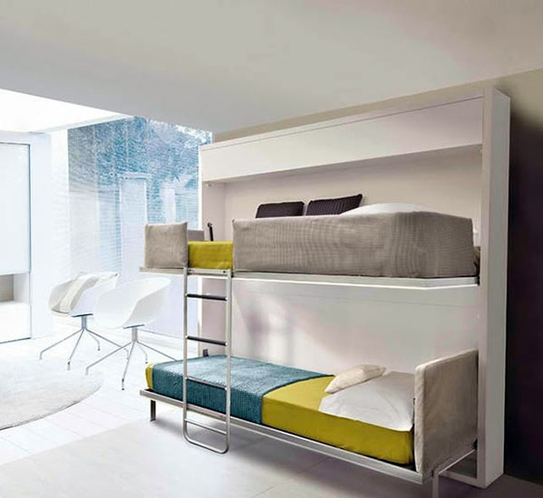 Wall cabinet with folding bed living ideas for practical wall beds interior design ideas - Etagenbett interio ...