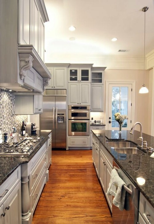 Catchy Coarse Grains Gently Wood Flooring In The Kitchen For A Homely  Atmosphere