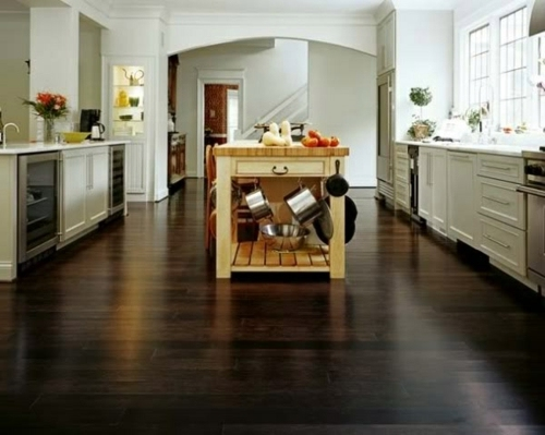 Walnut Top Is Strong And Masculine Wood Flooring In The Kitchen For A Homely  Atmosphere