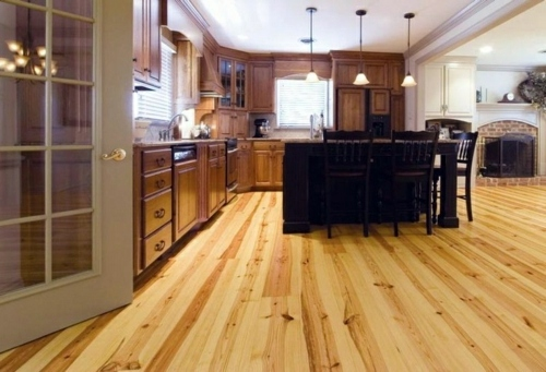 Beautiful Very Charming With Larch Wood Flooring In The Kitchen For A Homely  Atmosphere