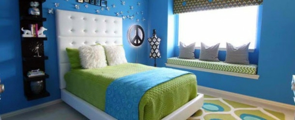 bedroom colors ideasblue and bright lime greeninterior - Interior Design Color Ideas