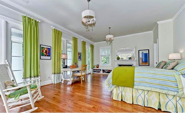 Bedroom colors ideas - blue and bright lime green ...