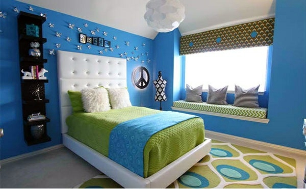 Girls Room Bedroom colors ideas - blue and bright lime green