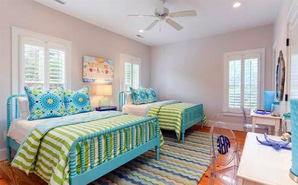 kiawa beach house bedroom colors ideas blue and bright lime green - Bedroom Colors Blue
