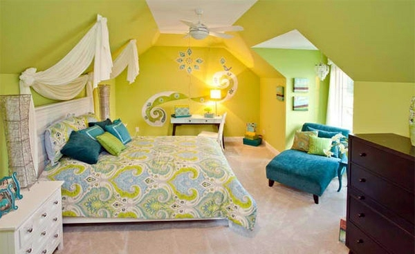 Bedroom colors ideas blue and bright lime green for Bright green bedroom ideas